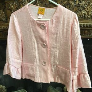 Ruby Rd sateen pink button down top